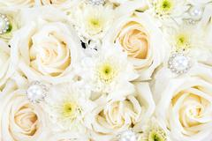 White roses and pearl and diamond - stock photo