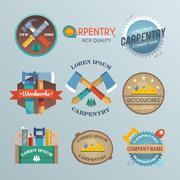 Carpentry Label Set Stock Illustration