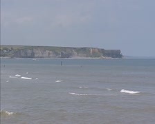 Steep Cliffs of Normandy, Arromanches, France. Stock Footage