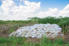 Bags of fertilizer placed in the land Stock Photos
