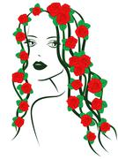 Girl with roses on hair - stock illustration