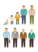 Stock Illustration of Generation Men Flat