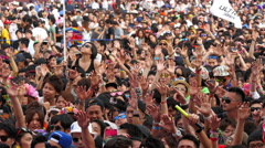 Large Crowd at Electronic Music Festival - Tokyo Japan Stock Footage