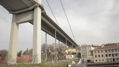 Under of sustained, drawbridge, Fatih Sultan Mehmet bridge Bosporus, Istanbul Stock Footage