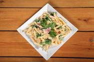Fresh pasta with bacon Stock Photos