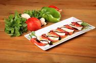 Fresh tomato and mozarela cheese Stock Photos