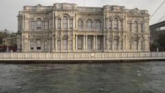 Beylerbeyi Palace Istanbul, Pavilion mansion, waterside, shore waterfront Stock Footage