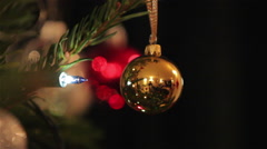 Bauble, Fairy Lights on a Christmas Tree Stock Footage