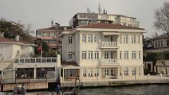 Istanbul Pavilion mansion, waterside, shore waterfront near Bosporus Stock Footage