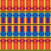 Stock Illustration of Aztec tribal seamless pattern with blue forms over orange  background