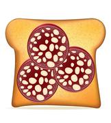 Toast with sausage vector illustration Stock Illustration