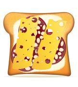 buttered toast sausage and cheese vector illustration - stock illustration