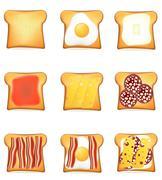 Set icons toast vector illustration Stock Illustration