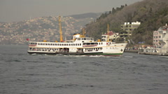 Passenger ferry cruising on Bosporus, Istanbul Stock Footage