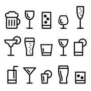 Drink alcohol beverage vector line icons set Piirros