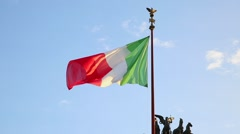 Flag of Italy, waving in the wind, on the sky Stock Footage