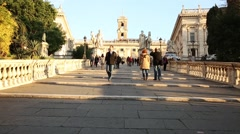 Ramped staircase leading to Capitoline Hill, Piazza del Campidoglio Stock Footage