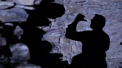 Man Shadow on wall Stock Footage