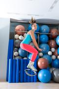 Kangoo Jumps Anti Gravity fitness boots girl - stock photo