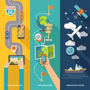 Navigation banner set - stock illustration