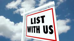List and Sell With Us Real Estate Home for Sale Sign Stock Footage