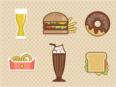 fast food icons set high detailed color - stock illustration
