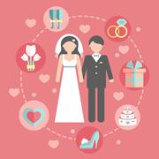 Wedding infographic set with Cartoon Bride and groom.Wedding day coast Stock Illustration