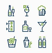 different kind of drink icons  vector icon set - stock illustration