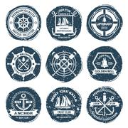 Nautical Labels And Stamps - stock illustration