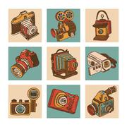 Camera Icon Set Stock Illustration