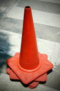 group old traffic cone - stock photo