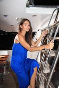 beautiful girl in a yacht - stock photo