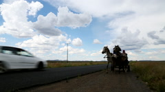 Horse drawn cart in Karoo Stock Footage
