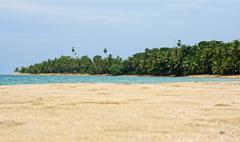 Beach sand and Caribbean tropical shore Costa Rica - stock photo