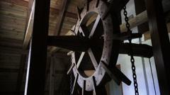 Old retro hoist mechanism Stock Footage
