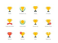 Trophy and awards colored icons on white background - stock illustration