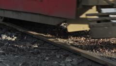 Tram rides on rails. Stock Footage