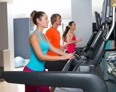 Gym treadmill group running indoor Kuvituskuvat