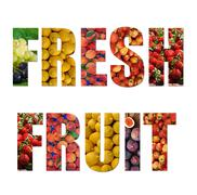 Colorful ripe fruit inside text on white backround Stock Illustration