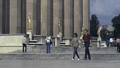 Paris 1978: people walking in Trocadero Stock Footage