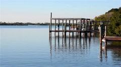 BoatDock_Reflection_River_01osvv Stock Footage