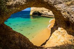 beaches in the Algarve - stock photo