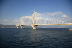 rio antirio bridge - stock photo
