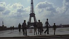 Paris 1978: Eiffel tower panorama at Trocadero Stock Footage