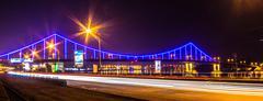 Pedestrian bridge in Kiev on the Dnieper night 2013 Stock Photos
