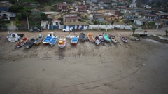 Boats in the beach - stock footage