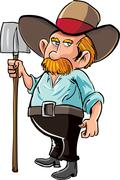 Cartoon farmer with moustache and hat Stock Illustration
