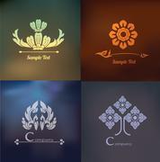 vector set of thai ornament design and decoration on blur background. - stock illustration