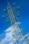 high voltage electric pole - stock photo