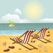 Two chaise longue on the beach - stock illustration